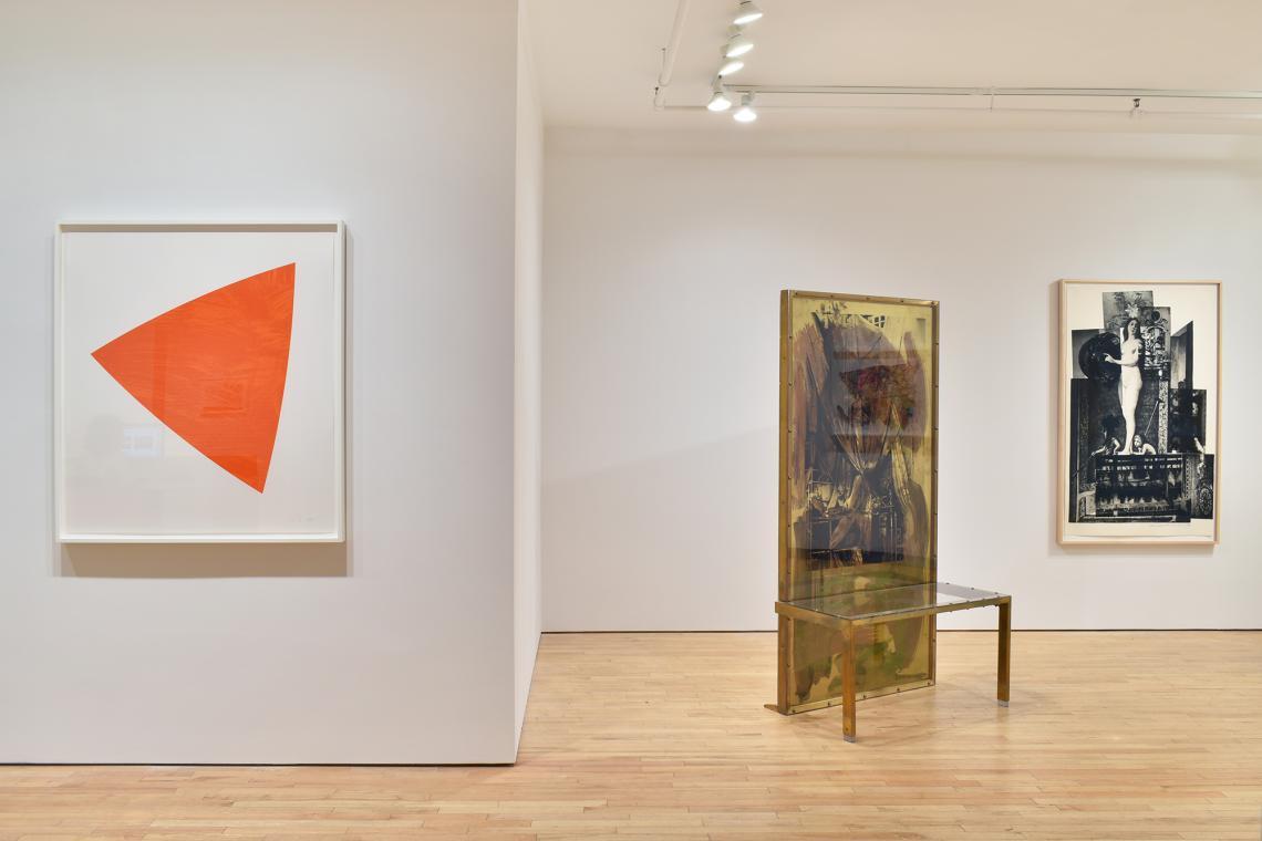 Ellsworth Kelly, Untitled (Red), 1988; Robert Rauschenberg, Borealis Shares II, 1990; Bellini #4, 1988.