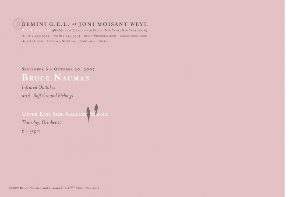 """Bruce Nauman """"Soft Ground Etchings"""" and """"Infrared Outtakes"""" Announcement Card"""