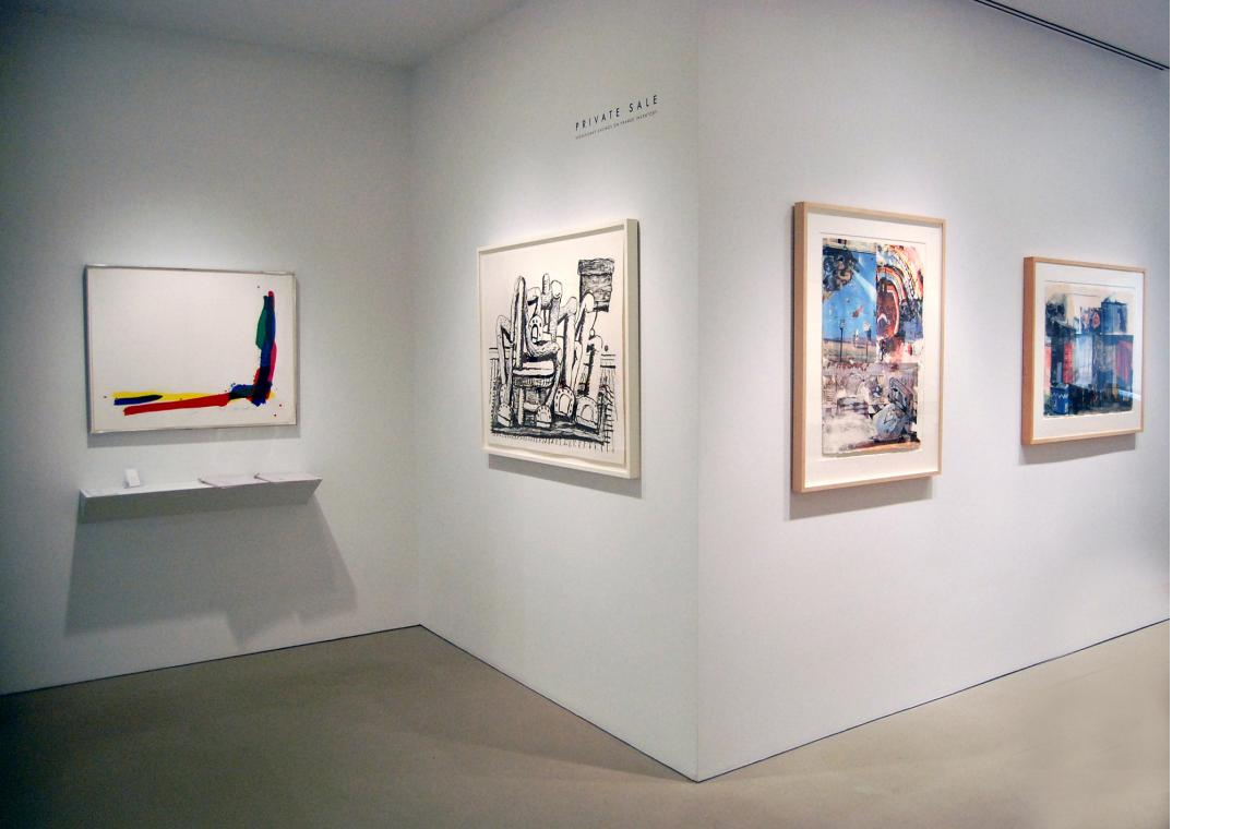 Left to right: Sam Francis, Turn, 1972; Philip Guston, Room, 1980; Robert Rauschenberg, L.A. Uncovered #11, 1998; Vamp (Marrakitch), 2000