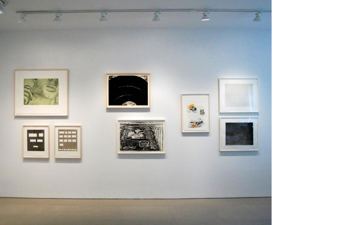 Nauman, Soft Ground Etching – Green, 2007; Ruscha, Listen If You Ever Tell..., 2007; Stick Up, 2007; Serra, Paths and Edges #9, 2007; Guston, Rug, 1980; Oldenburg, Notes (Drum Set), 1968; Celmins, Night  Sky 1 (Reversed), 2002; Untitled (Web 4), 2002