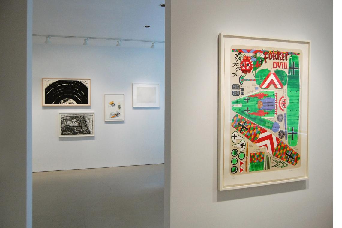 Left to right: Richard Serra, Paths and Edges #4, 2007; Philip Guston, Rug, 1980; Claes Oldenburg, Notes (Drum Set), 1968; Vija Celmins, Night Sky 1 (Reversed), 2002; Malcolm Morley, Fokker DVIII, 2001