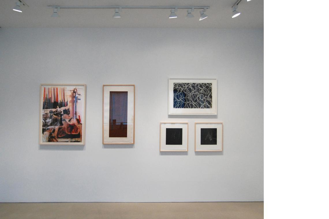 Left to right: Darryl Pottorf, Soak and Wet De Marra Kech, 2000; Robert Motherwell, Atascadero I, 1978; Brice Marden, Line Muses, 2001; Susan Rothenberg, Puppet Series #2, 2008; Puppet Series #1, 2008