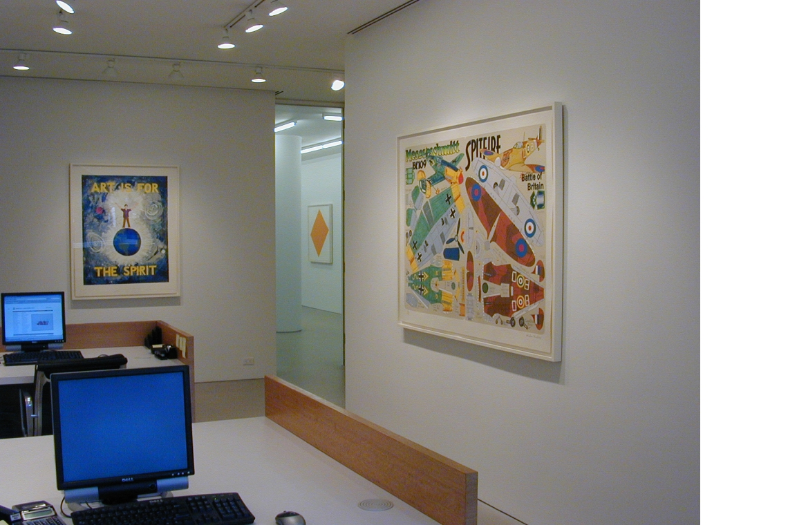 From left to right: Jonathan Borofsky, Art Is For The Spirit (State); Malcolm Morley, Battle of Britain