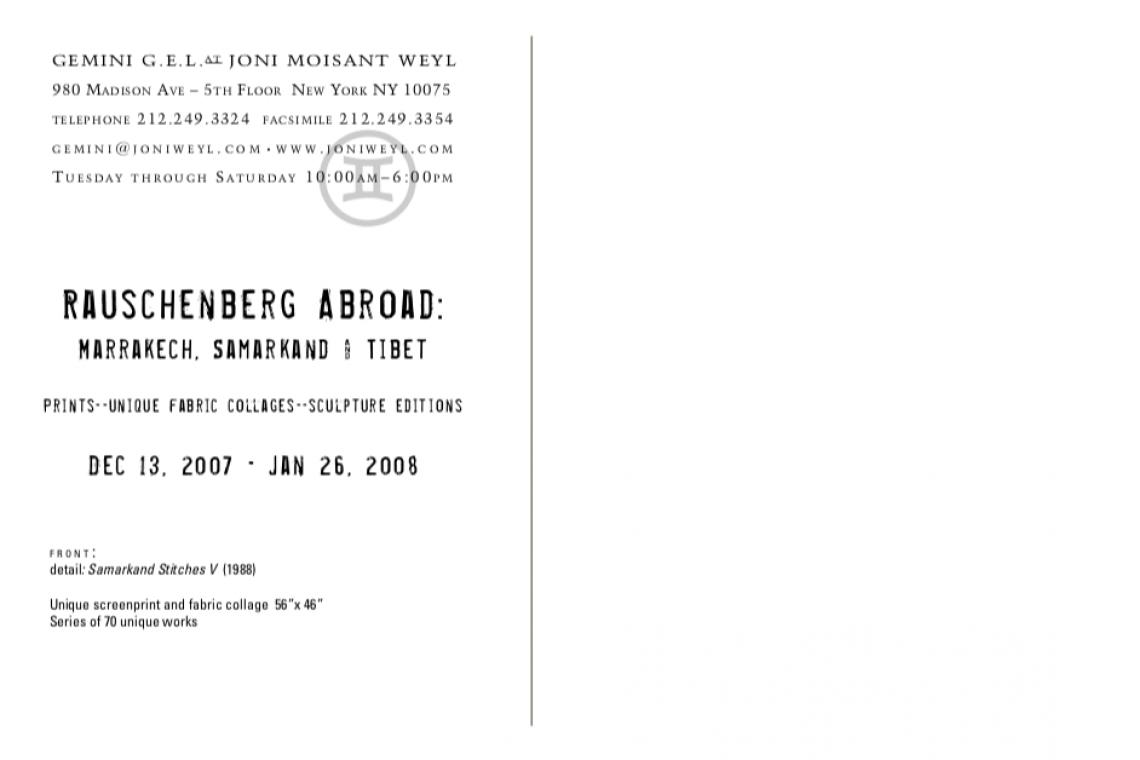 Rauschenberg Abroad 2008 Announcement Card