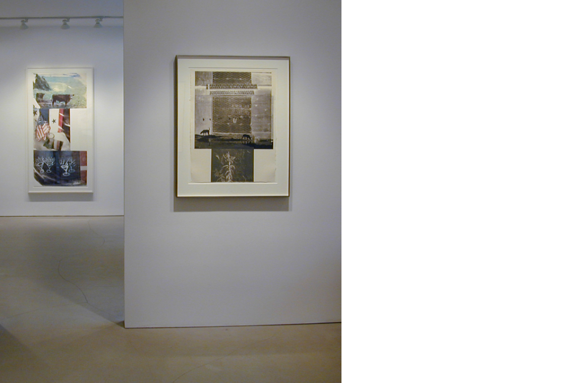 From left to right: Robert Rauschenberg, Witness (Speculations), 1996; Lily Scent, 1981`