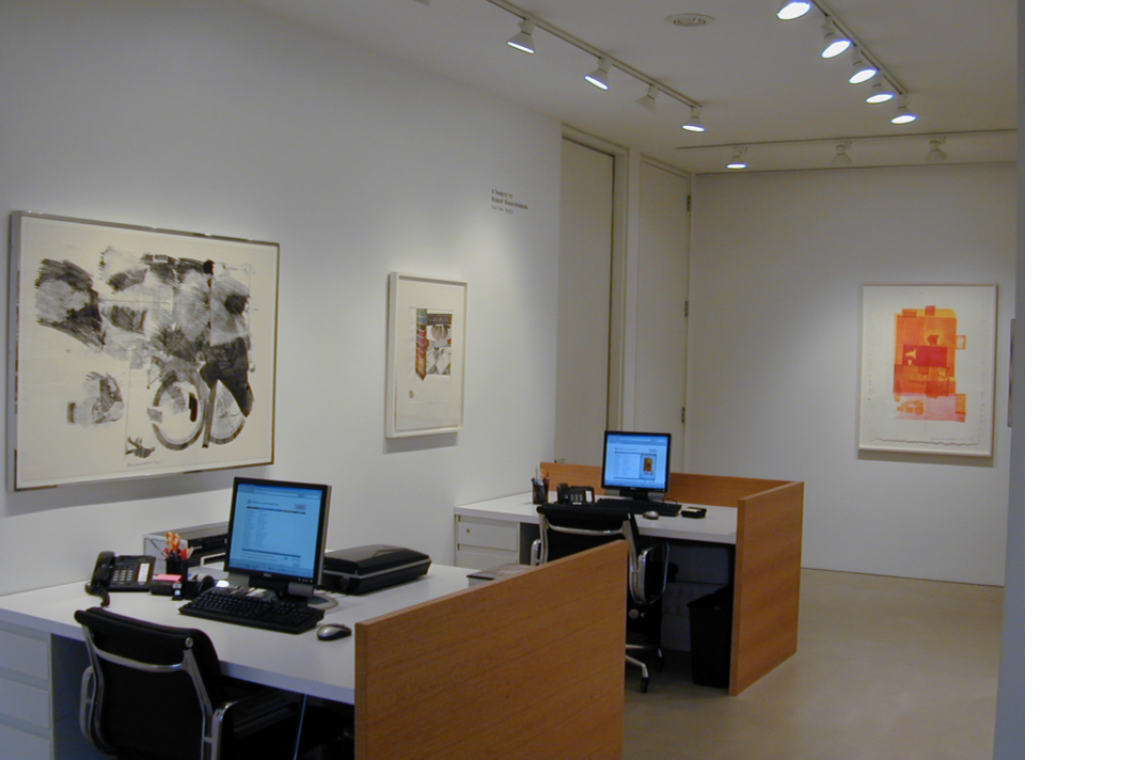 From left to right: Robert Rauschenberg, Test Stone #7, 1967; Horsefeathers Thirteen-IV, 1972; Romances (Pomegranate), 1977