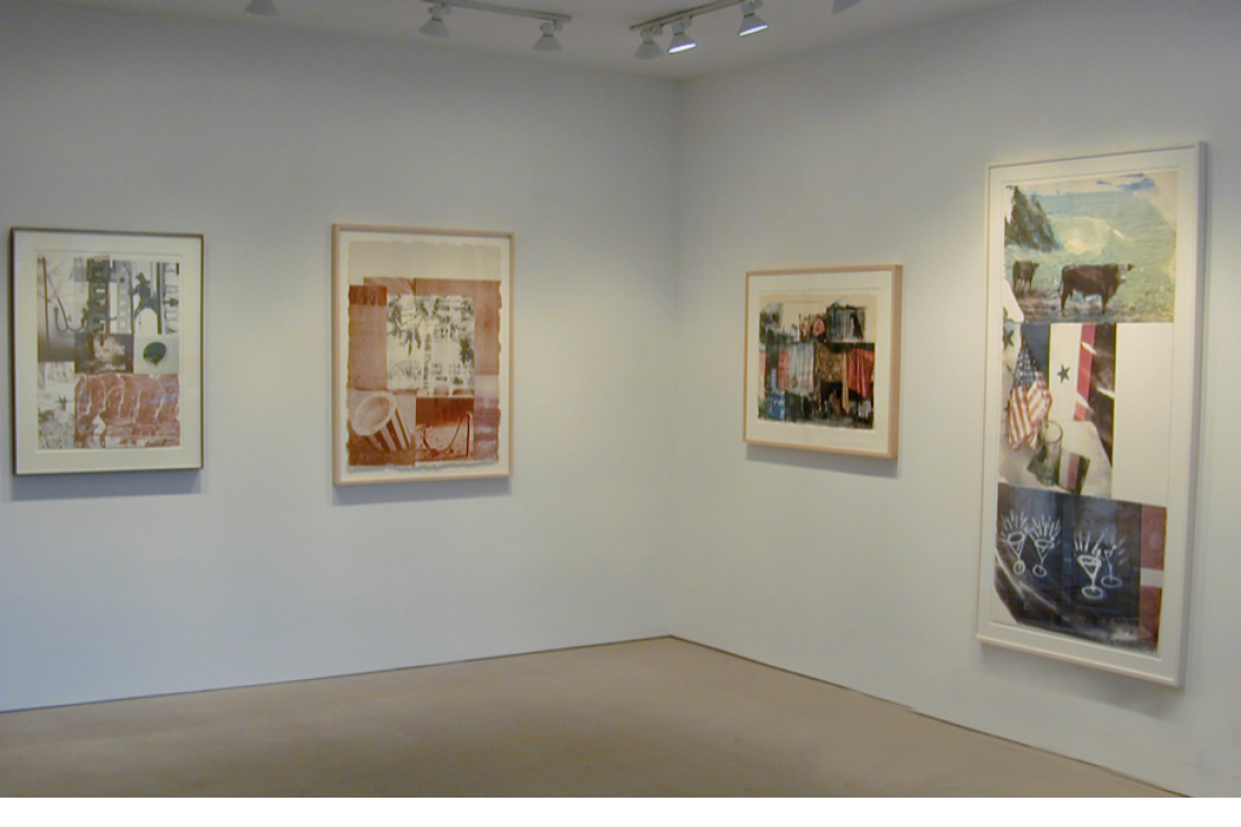 From left to right: Robert Rauschenberg, American Pewter with Burroughs II, 1981; Rookery Mounds – Gray Garden, 1979; Vamp, 2000; Witness (Speculations), 1996