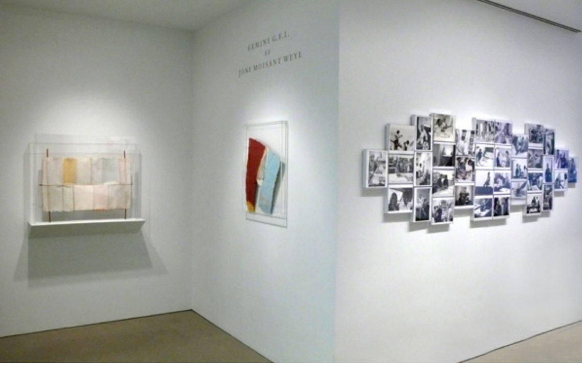 Left to Right: Hard Eight, 1975; Link, 1974; Photo-collage of the life of Robert Rauschenberg, photography by Sidney Felsen