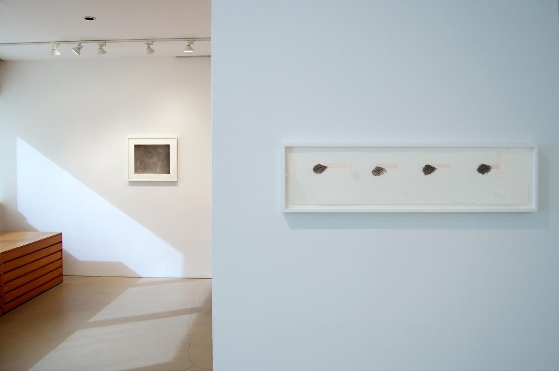 Left to right: Vija Celmins, Untitled (Web 4), 2002; Richard Tuttle, Metal Shoes, 2, 2009