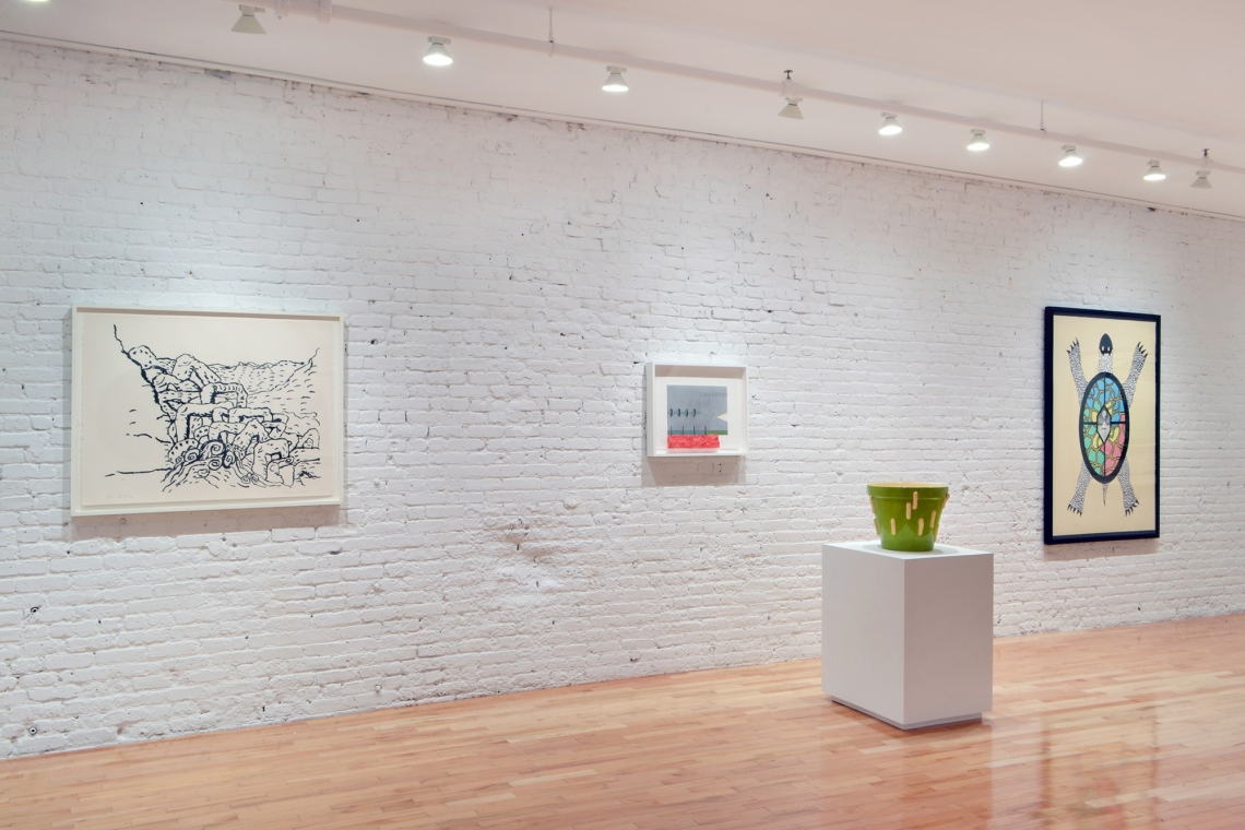 "Philip Guston, Sea Group, 1983; Richard Tuttle, ""Pacific Seriously"", 2012; Plant Growth, 2012; Jonathan Borofsky, Turtle, 1991."