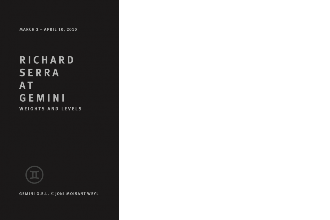Richard Serra Weights and Levels (2010) Announcement Card