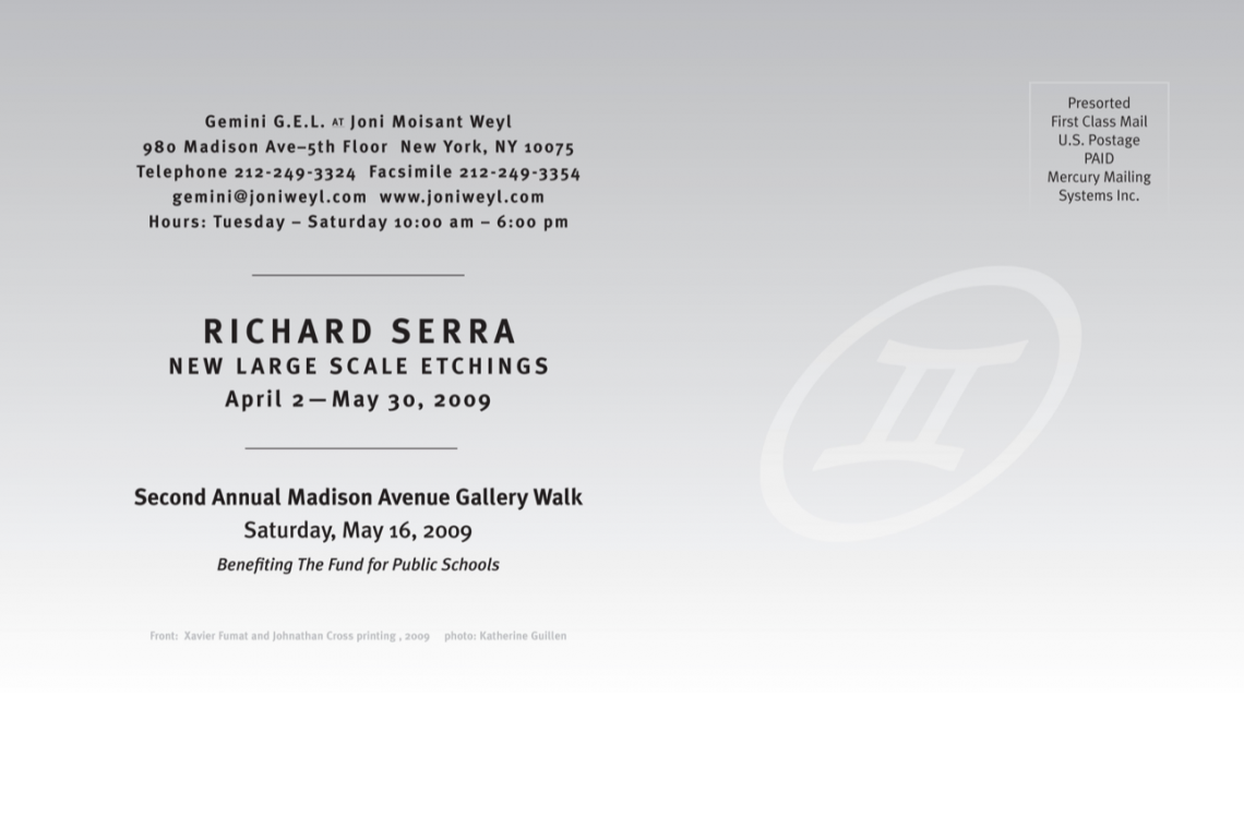 Richard Serra New Large Scale Etchings Announcement Card (2009)