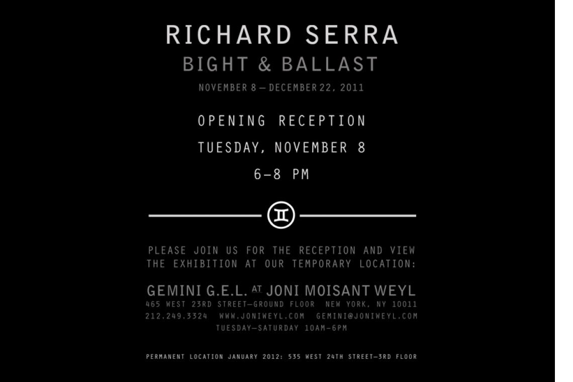 Richard Serra: Bright & Ballast 2011 Announcement Card