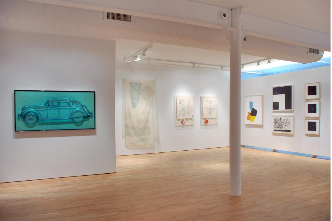 Claes Oldenburg, Profile Airflow, Robert Rauschenberg,Scent; Truth; Red Heart;  Joel Shapiro, Boat, Bird, Mother and Child (i), 2009; Ellsworth Kelly, Two Blacks and White;  Philip Guston, Sky; Susan Rothenberg, Lean To; Puppet Series #1; Puppet Series #4