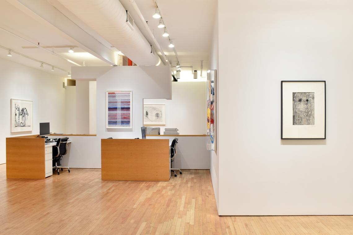 Philip Guston, Studio Corner, 1980; Ed Ruscha, Column with Speed Lines, 2003; Bruce Nauman, House Divided, 1985; Jasper Johns, Untitled, 1998.