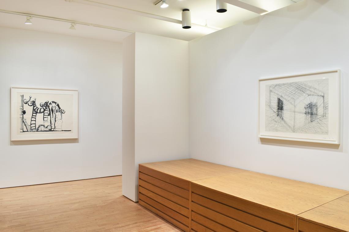 Philip Guston, Studio Corner, 1980; Bruce Nauman, House Divided, 1985.