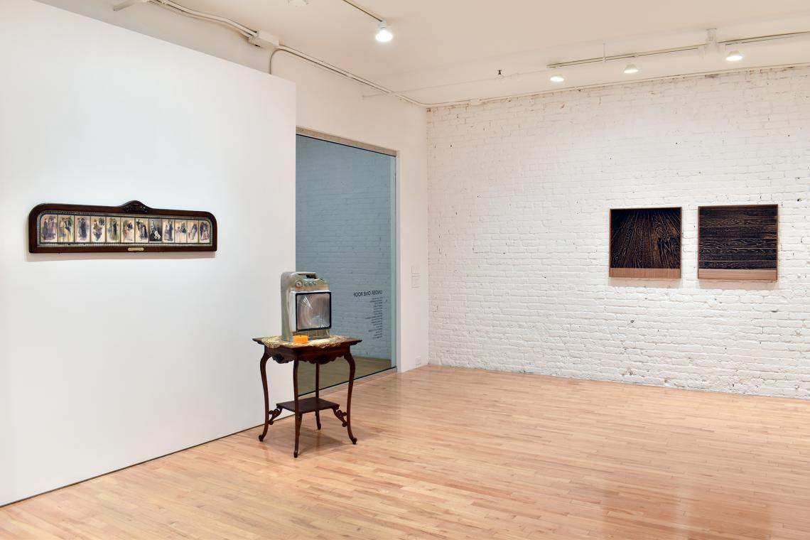 Edward & Nancy Kienholz, The Marriage Icon, 1972; Ernte 23, 1981; Analia Saban, Wooden Floor On Wood (One-Point Perspective), 2017;  Wooden Floor On Wood (Horizontal), 2017