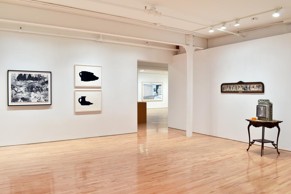 John Baldessari, Hands & Feet: Hands, Dinner Table & Person, 2017; Analia Saban, Pitcher #3 (Spilled Interior), 2017; Pitcher #5 (Spilled Interior), 2017; Roy Lichtenstein, Bedroom, 1991; Edward & Nancy Kienholz, The Marriage Icon, 1972.