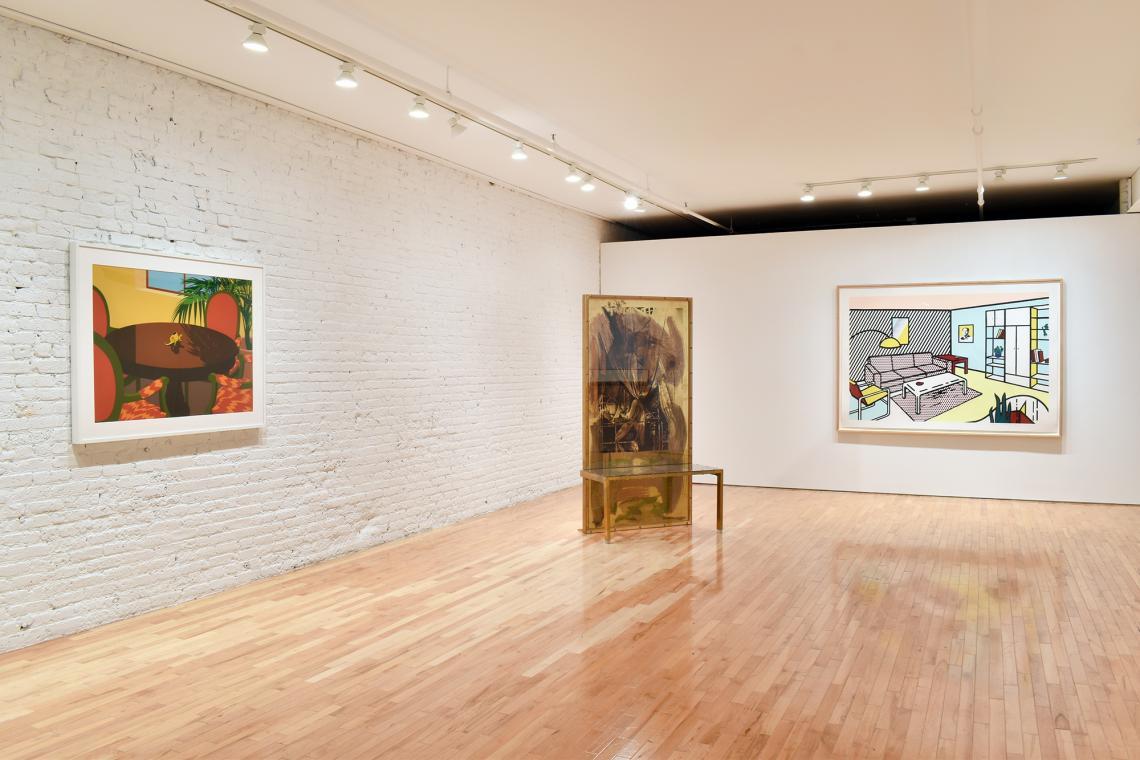 Ken Price, Mediterranean Lizard Cup, 1975; Robert Rauschenberg, Borealis Shares II, 1990; Roy Lichtenstein, Modern Room, 1991.