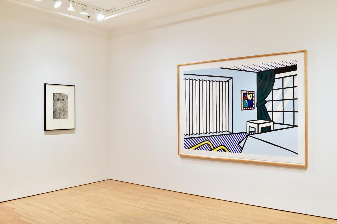 Jasper Johns, Untitled, 1998; Roy Lichtenstein, Bedroom, 1991.