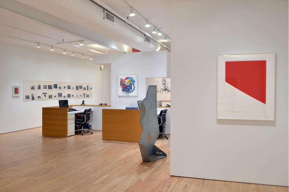 Sophie Calle, The Address Book, 2009; Elizabeth Murray, Red, Hot & Blue, 2003; Isamu Noguchi, Goddess, 1983; Ellsworth Kelly, Red Curve, 2000