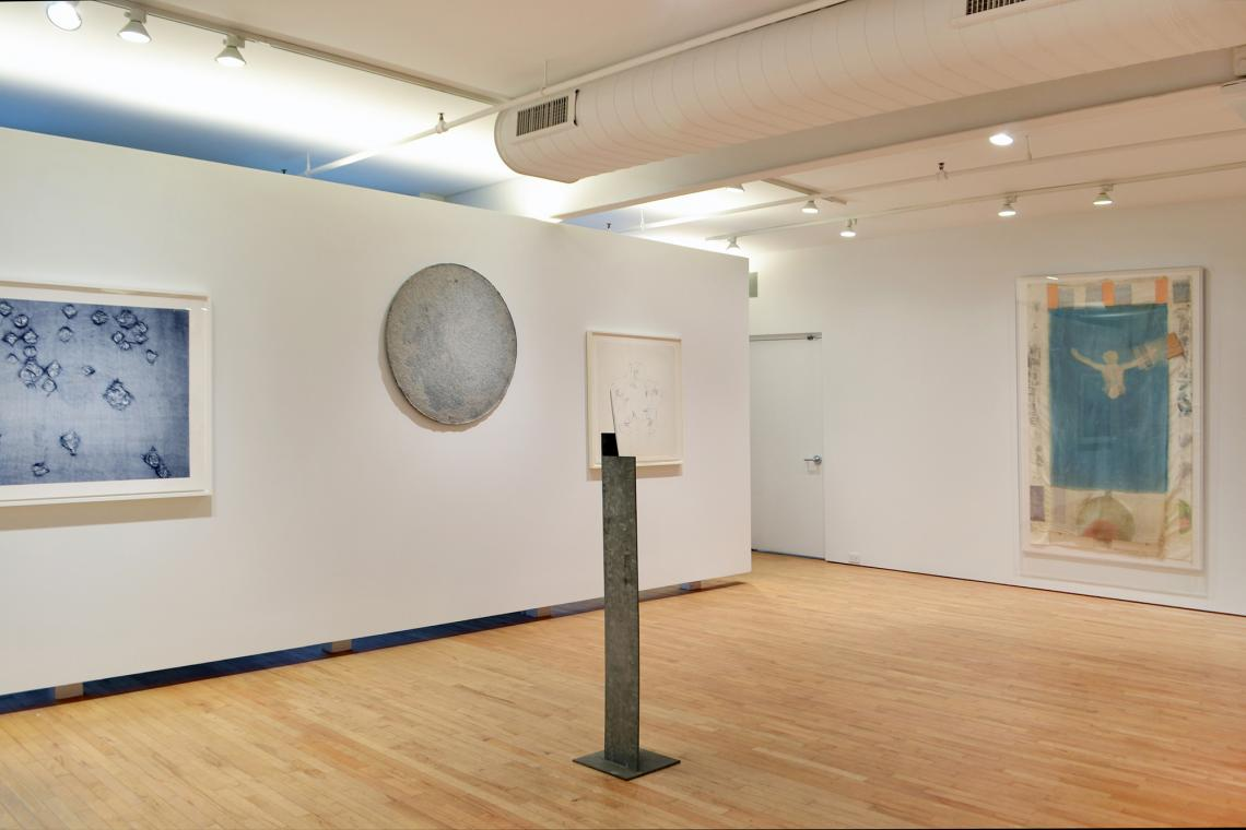 "Ann Hamilton, warp & weft II, 2007; Franz West, Honeymoon, 2012; Isamu Noguchi, Lady Mirror, 1983;  Bruce Nauman, Untitled (from ""Fingers and Holes"" series), 1994: Robert Rauschenberg, Pull, 1974"
