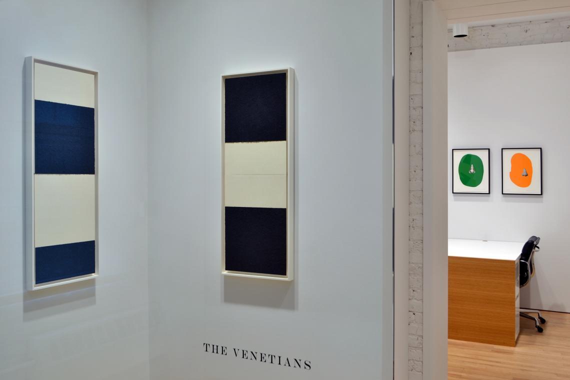 Richard Serra, Reversal IX, 2014; Richard Serra, Reversal VIII, 2014; John Baldessari, Nose/Silhouette: Green, 2010; John Baldessari, Nose/Silhouette: Orange, 2010