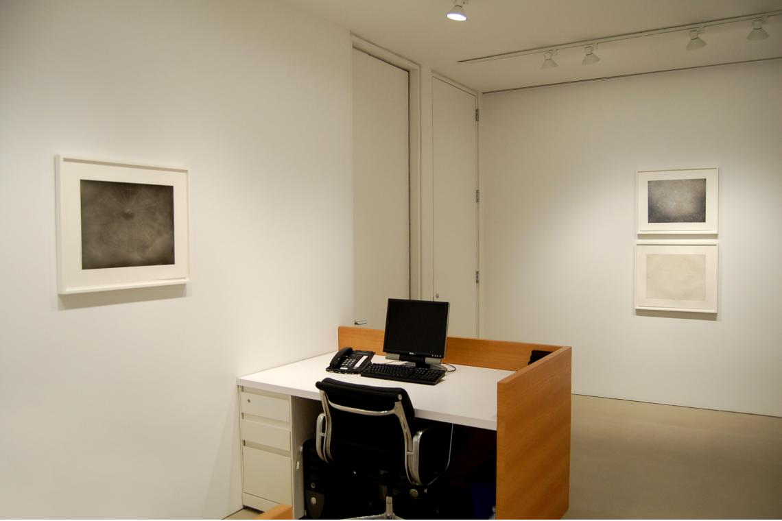 Left to right: Vija Celmins, Untitled (Web 3), 2002; Night Sky 3, 2002; Night Sky 1 (Reversed), 2002
