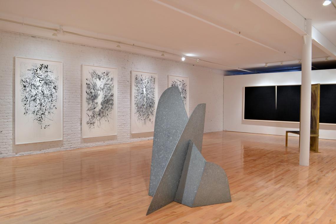 Julie Mehretu, Myriads, Only By Dark, 2014; Isamu Noguchi, Mountains Forming, 1982; Richard Serra, Double Rift V, 2014; Robert Rauschenberg, Borealis Shares II, 1990