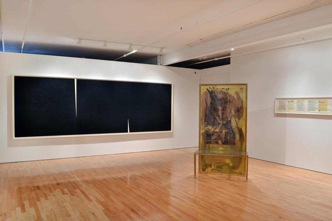 Richard Serra, Double Rift V, 2014; Robert Rauschenberg, Borealis Shares II, 1990; Allen Ruppersberg, Great Speckled Bird, 2013.