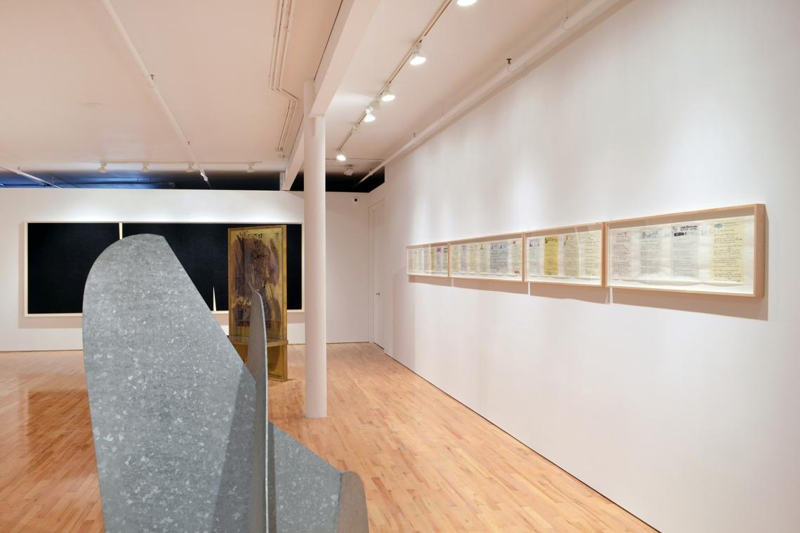 Richard Serra, Double Rift V, 2014; Robert Rauschenberg, Borealis Shares II, 1990; Allen Ruppersberg, Great Speckled Bird, 2013; Isamu Noguchi, Mountains Forming, 1982