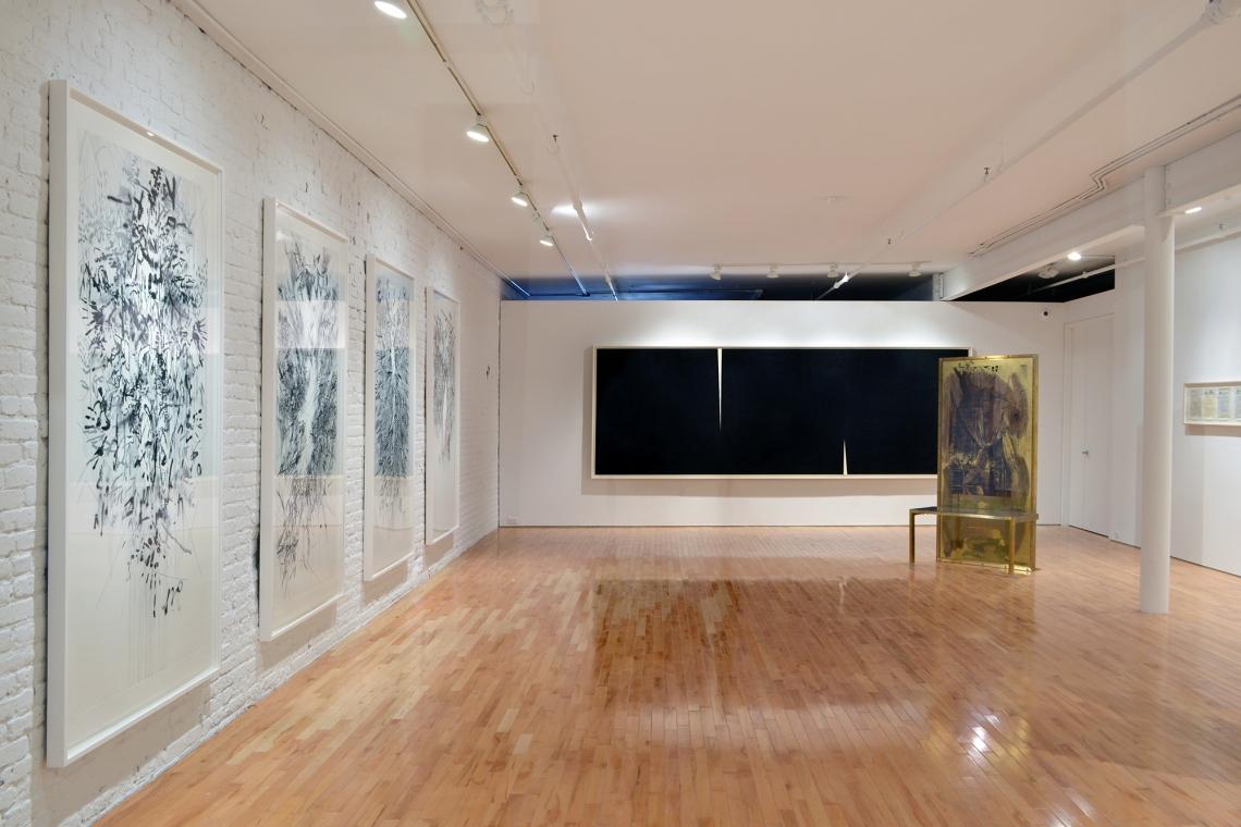 Julie Mehretu, Myriads, Only By Dark, 2014; Richard Serra, Double Rift V, 2014; Robert Rauschenberg, Borealis Shares II, 1990; Allen Ruppersberg, Great Speckled Bird, 2013