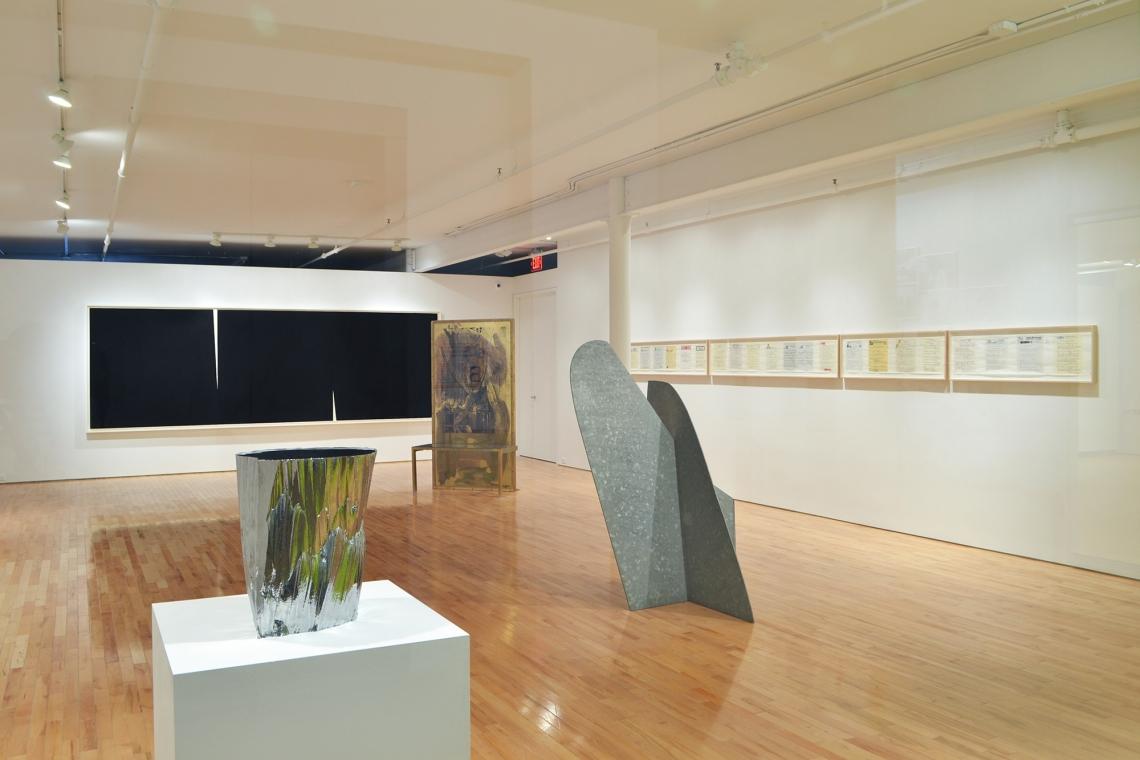 Richard Serra, Double Rift V, 2014; Robert Rauschenberg, Borealis Shares II, 1990; Allen Ruppersberg, Great Speckled Bird, 2013; Isamu Noguchi, Mountains Forming, 1982; John Chamberlain, Straits of Muse, 2005.
