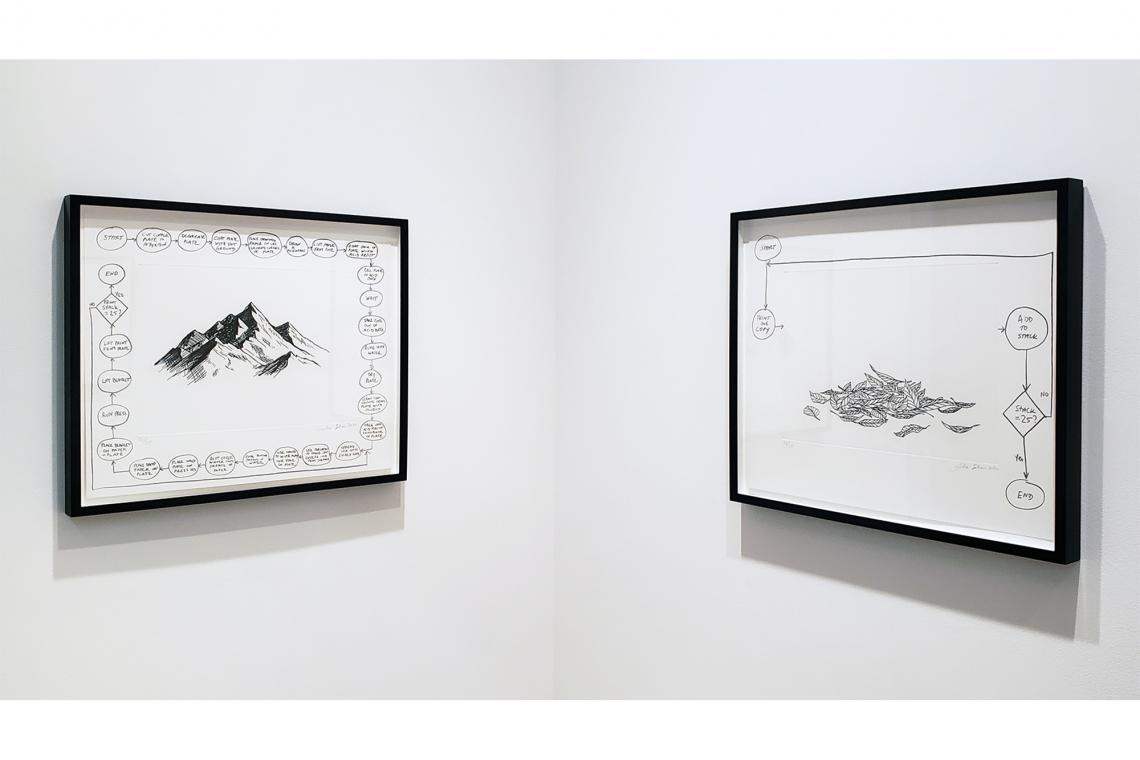 Analia Saban, Flowchart (Mountain), 2020; Flowchart (Leaves), 2020.