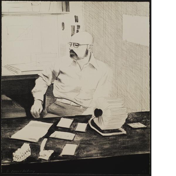 David Hockney, Sidney In His Office, 1977