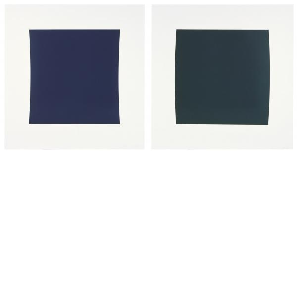 Ellsworth Kelly, Diptych: Dark Blue/Dark Green, 2001