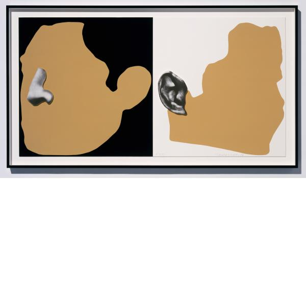 John Baldessari, Noses & Ears, Etc.: Two Profiles, One with Nose (B&W); One with Ear (B&W), 2006