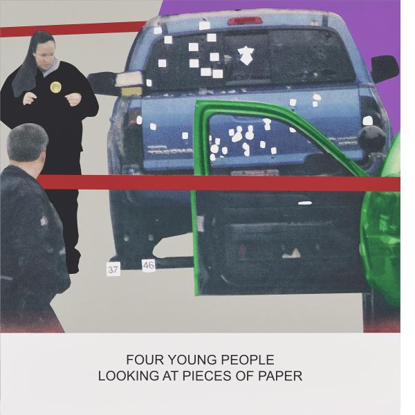 John Baldessari, The News: Four Young People Looking at Pieces of Paper, 2014