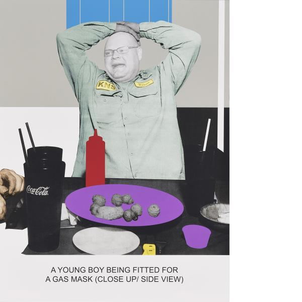 John Baldessari, The News: A Young Boy Being Fitted For a Gas Mask, 2014