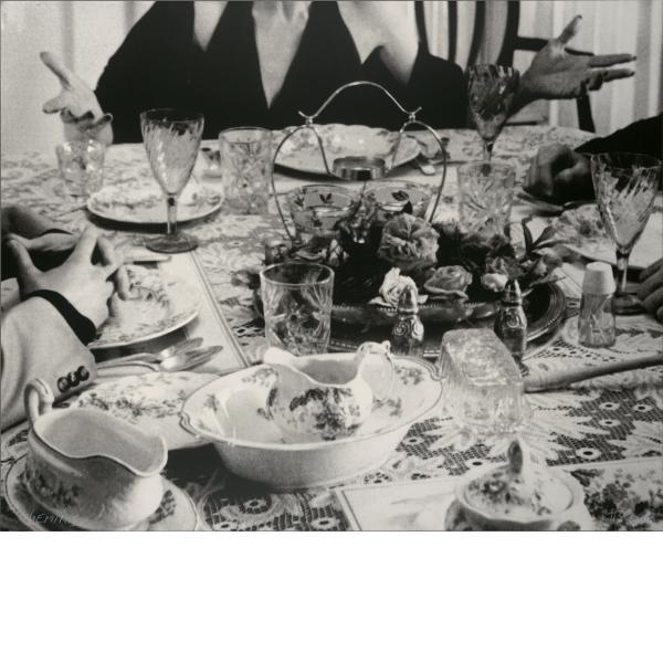 John Baldessari, Hands & Feet: Hands, Dinner Table & Person, 2017