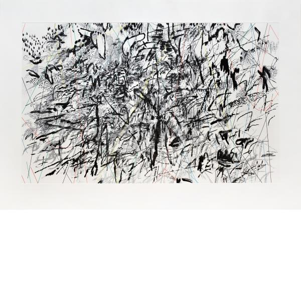 Julie Mehretu, vertiginous fold, 2014