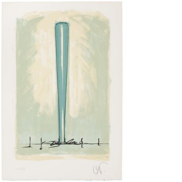 Claes Oldenburg, Bat Spinning at the Speed of Light, State IV, 1975