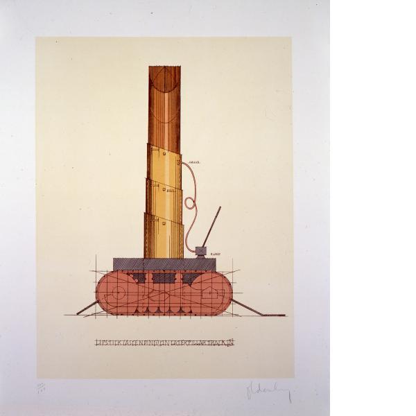 Claes Oldenburg, Lipstick (Ascending) on Caterpillar Tracks, 1969