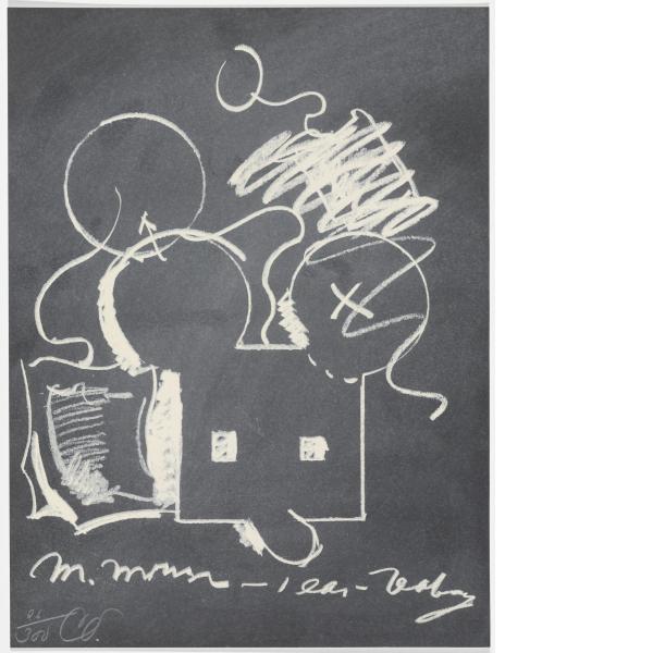 Claes Oldenburg, M.Mouse (with) 1 Ear (equals) Tea Bag Blackboard Version (1965), 1973