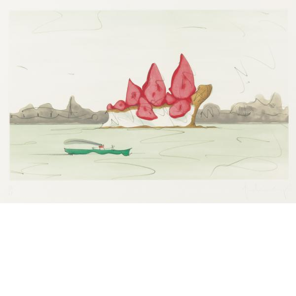 Claes Oldenburg, Proposed Monument for Mill Rock, East River, NYC: Slice of Strawberry Cheesecake