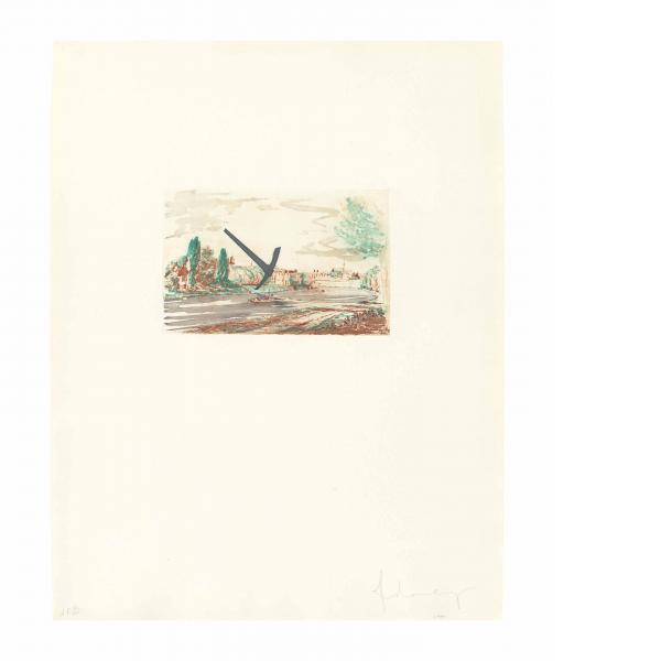 Claes Oldenburg, The Spitzhacke, 1982, Superimposed on a Drawing of the Site by Emil Ludwig Grimm, 1822, 1982