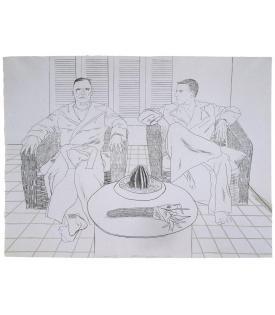 David Hockney, Christopher Isherwood and Don Bachardy, 1976