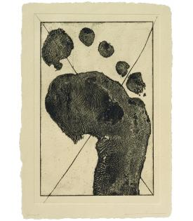 Jonathan Borofsky, Half Foot Etching With Black Cross (State), 1992
