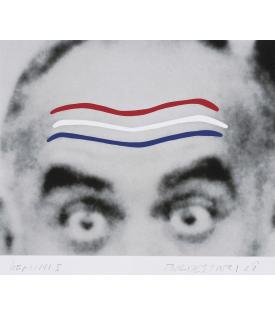 John Baldessari, Raised Eyebrows/Furrowed Foreheads (Red, White and Blue), 2008
