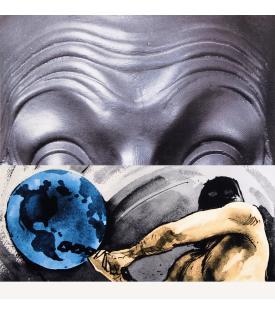 John Baldessari, Raised Eyebrows / Furrowed Foreheads / Figure with Globe, 2009